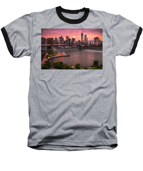 Baseball T-Shirt featuring the photograph Brooklyn Bridge Over New York Skyline At Sunset by Ranjay Mitra