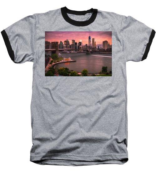 Brooklyn Bridge Over New York Skyline At Sunset Baseball T-Shirt