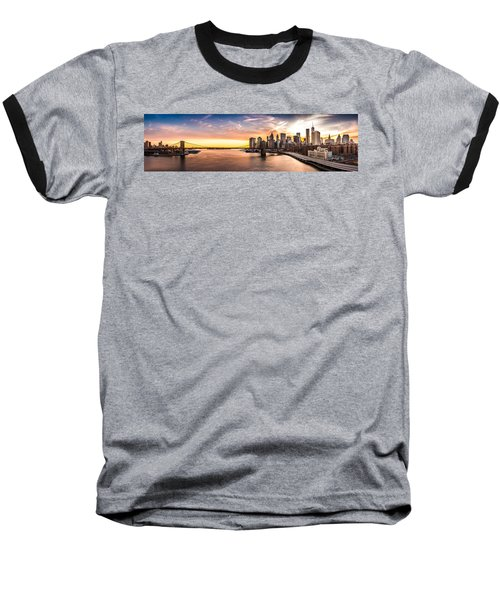 Brooklyn Bridge Panorama Baseball T-Shirt