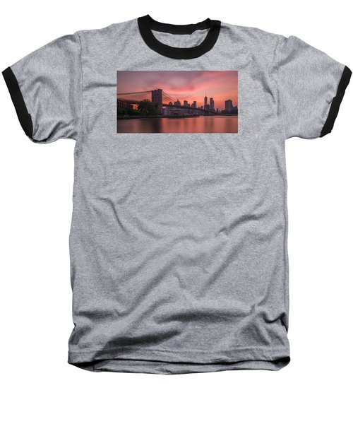 Brooklyn Bridge Sunset Baseball T-Shirt by Scott McGuire