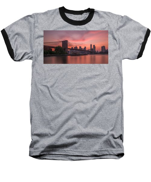 Brooklyn Bridge Sunset Baseball T-Shirt