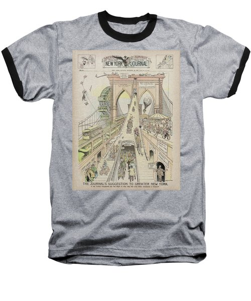 Baseball T-Shirt featuring the photograph Brooklyn Bridge Trolley Right Of Way Controversy 1897 by Daniel Hagerman