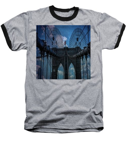 Baseball T-Shirt featuring the photograph Brooklyn Bridge Webs by Chris Lord