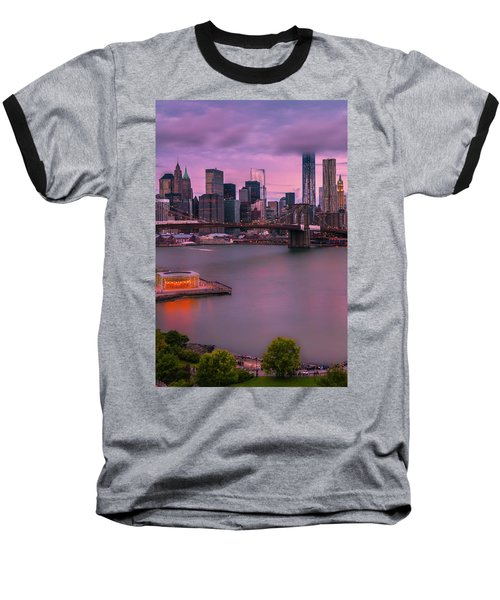 Baseball T-Shirt featuring the photograph Brooklyn Bridge World Trade Center In New York City by Ranjay Mitra