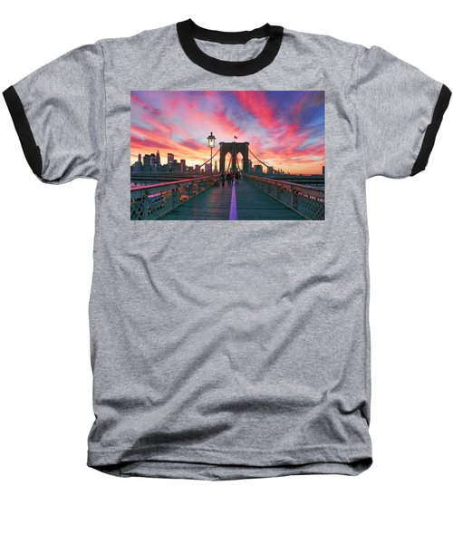 Brooklyn Sunset Baseball T-Shirt by Rick Berk