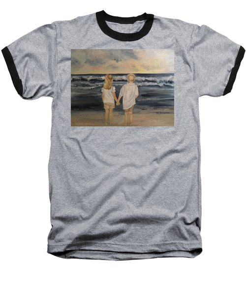 Baseball T-Shirt featuring the painting Brother And Sister by Julie Brugh Riffey