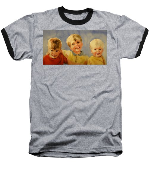 Baseball T-Shirt featuring the painting Brothers by Marilyn Jacobson