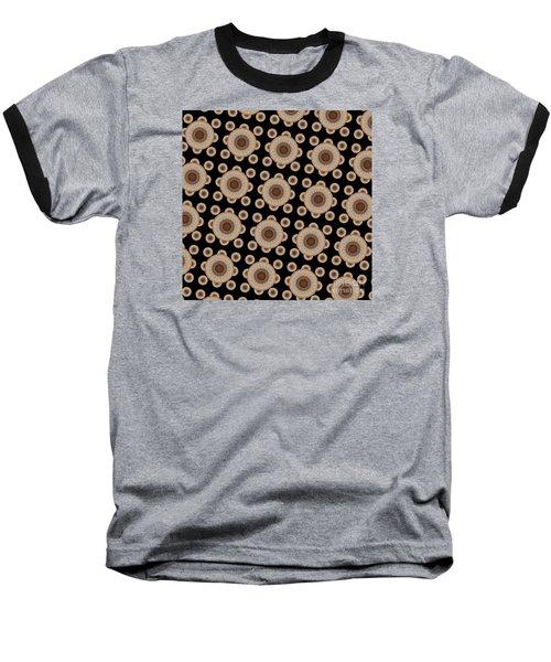 Brown And Black Mandala Pattren Baseball T-Shirt by Saribelle Rodriguez