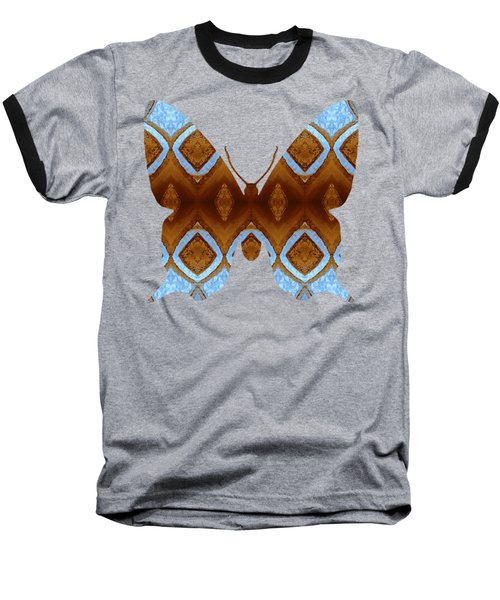 Brown And Blue Butterfly Baseball T-Shirt