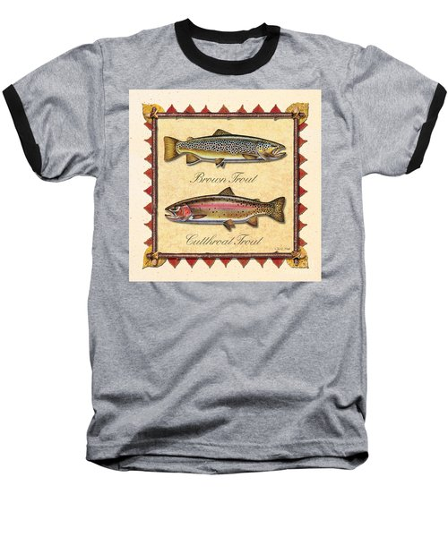 Brown And Cutthroat Creme Baseball T-Shirt by JQ Licensing