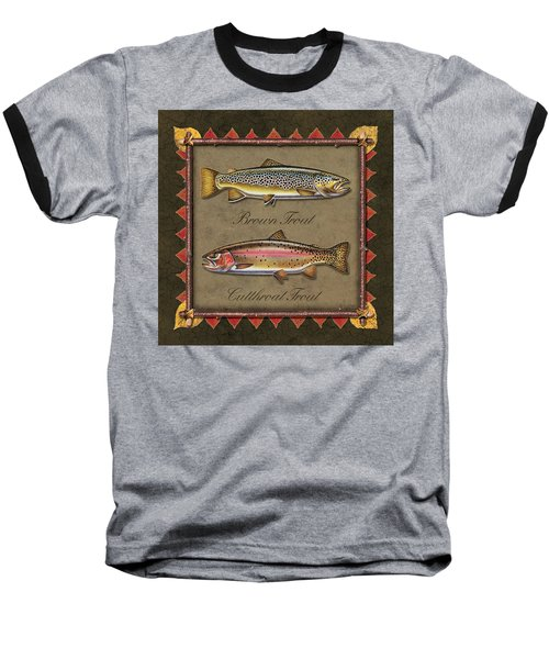 Brown And Cutthroat Trout Baseball T-Shirt by JQ Licensing