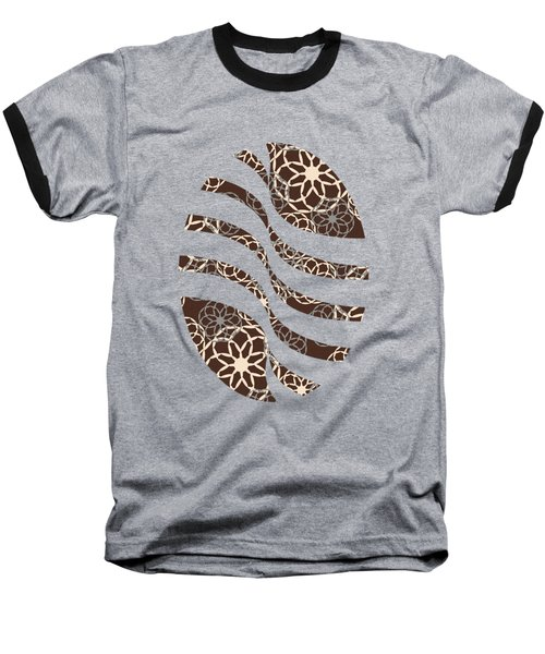 Brown And Silver Floral Pattern Art Baseball T-Shirt