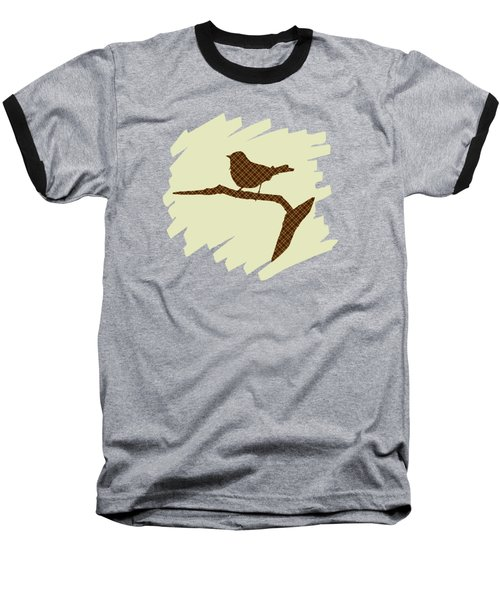 Brown Bird Silhouette Modern Bird Art Baseball T-Shirt by Christina Rollo