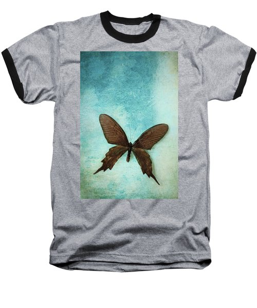 Brown Butterfly Over Blue Textured Background Baseball T-Shirt