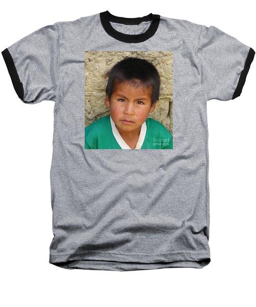 Brown Eyed Bolivian Boy Baseball T-Shirt by Lew Davis