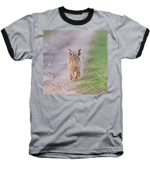 Brown Hare Approaching Down Track Baseball T-Shirt