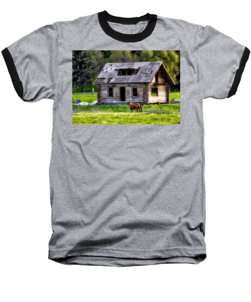 Brown Horse And Old Log Cabin Baseball T-Shirt