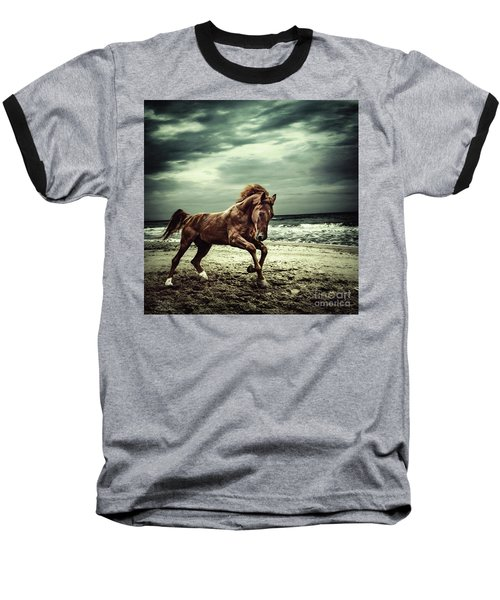 Brown Horse Galloping On The Coastline Baseball T-Shirt