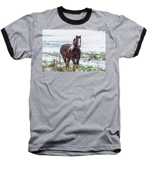 Brown Horse Galloping Through The Snow Baseball T-Shirt