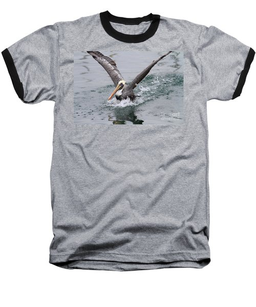 Brown Pelican Landing On Water . 7d8372 Baseball T-Shirt