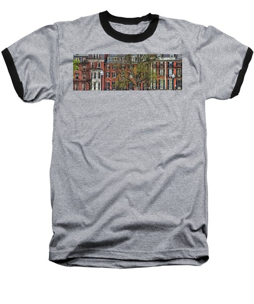 Baseball T-Shirt featuring the photograph Brownstone Panoramic - Beacon Street Boston by Joann Vitali