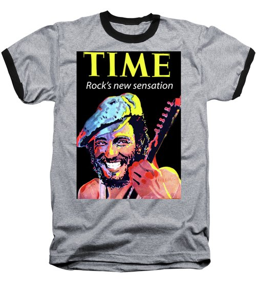 Bruce Springsteen Time Magazine Cover 1980s Baseball T-Shirt