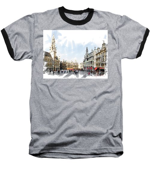 Brussels Grote Markt  Baseball T-Shirt by Tom Cameron