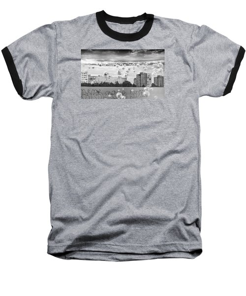 Bubbles And The City Baseball T-Shirt by John Williams