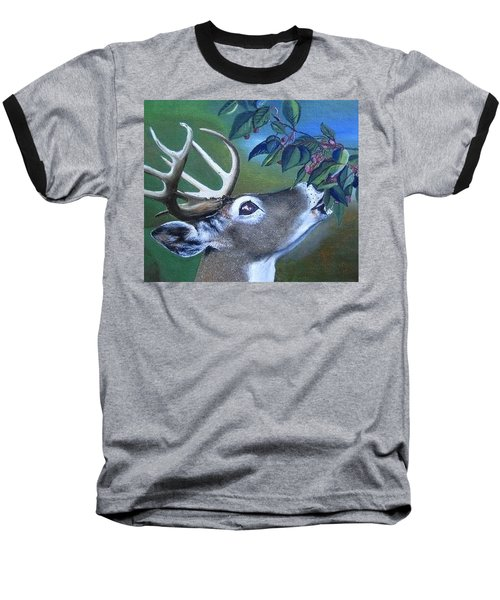 Baseball T-Shirt featuring the painting Buck by Mary Ellen Frazee
