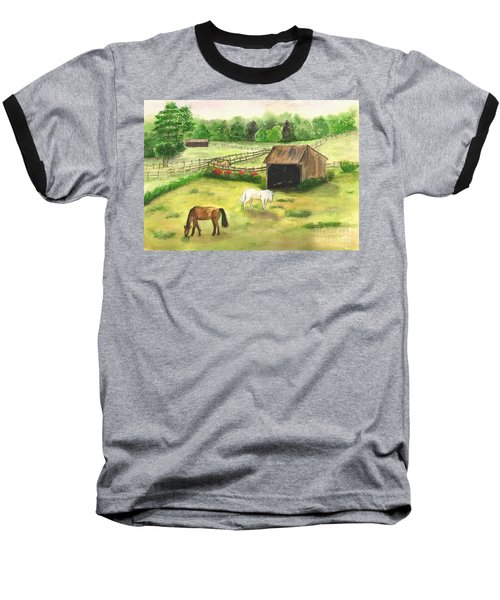 Baseball T-Shirt featuring the painting Bucks County Horse Farm by Lucia Grilletto