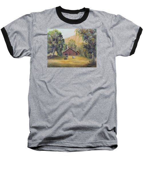 Baseball T-Shirt featuring the painting Bucks County Pa Barn by Luczay