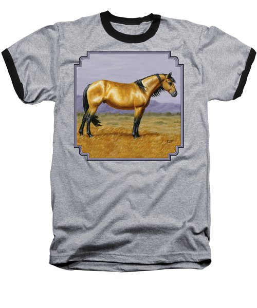 Buckskin Mustang Stallion Baseball T-Shirt by Crista Forest