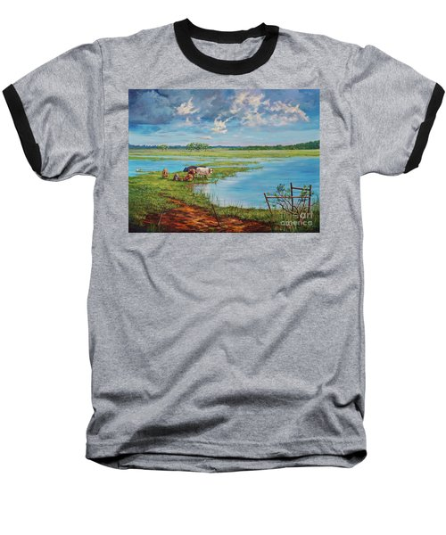 Baseball T-Shirt featuring the painting Bucolic St. John's by AnnaJo Vahle