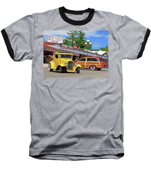 Baseball T-Shirt featuring the photograph Bud Tent Hot Rods by Christopher McKenzie