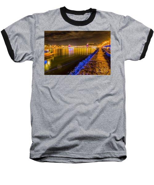 Baseball T-Shirt featuring the photograph Budapest At Night Lanchid Chain Bridge by Jivko Nakev