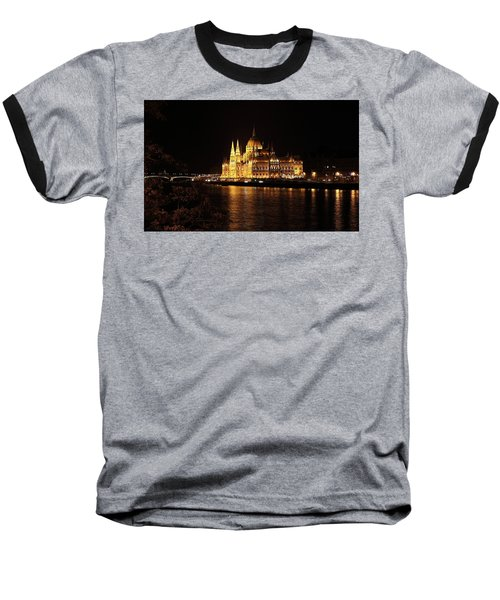 Baseball T-Shirt featuring the digital art Budapest - Parliament by Pat Speirs