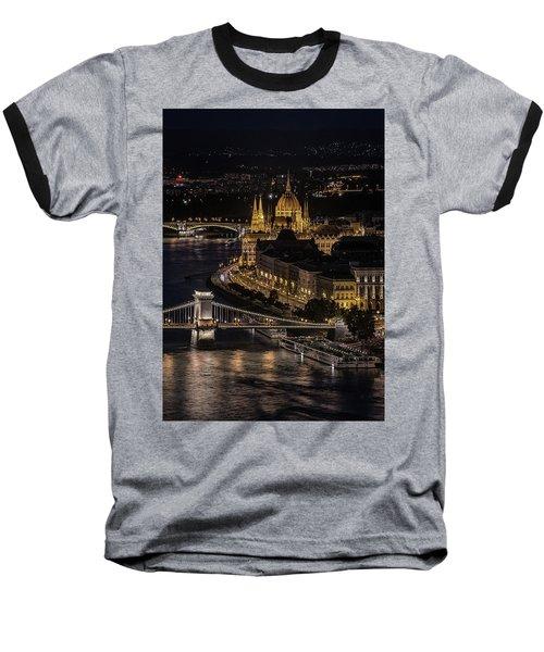 Budapest View At Night Baseball T-Shirt by Jaroslaw Blaminsky