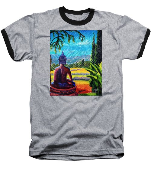 Baseball T-Shirt featuring the painting Buddha Atop The Lavender Farm by Janet McDonald