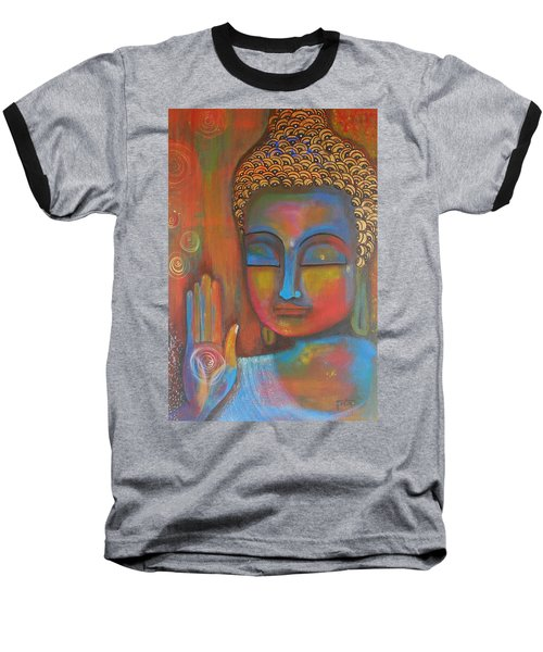 Baseball T-Shirt featuring the painting Buddha Blessings by Prerna Poojara