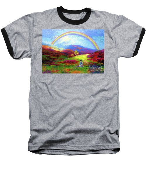 Baseball T-Shirt featuring the painting Buddha Chakra Rainbow Meditation by Jane Small
