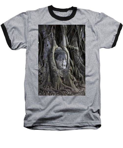 Buddha Head In Tree Baseball T-Shirt by Adrian Evans