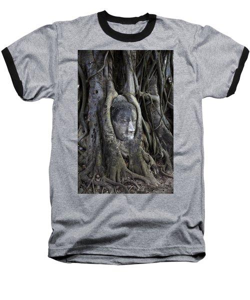 Buddha Head In Tree Baseball T-Shirt