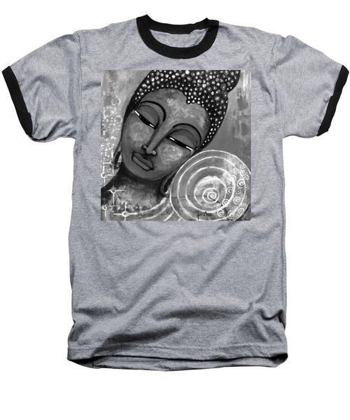 Baseball T-Shirt featuring the mixed media Buddha In Grey Tones by Prerna Poojara
