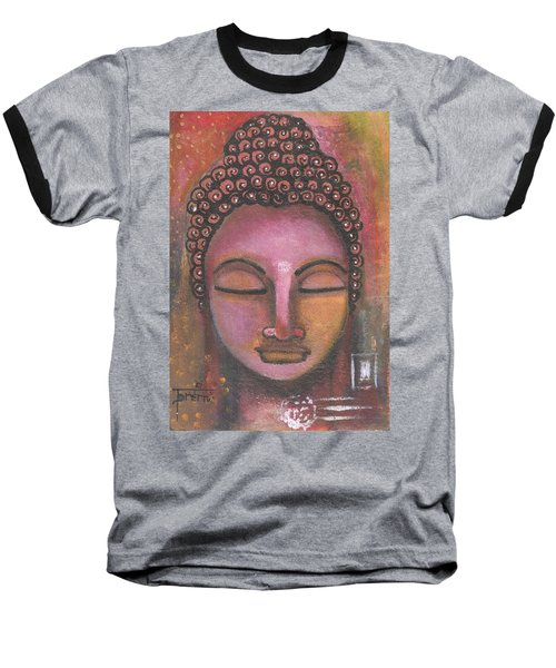 Buddha In Shades Of Purple Baseball T-Shirt
