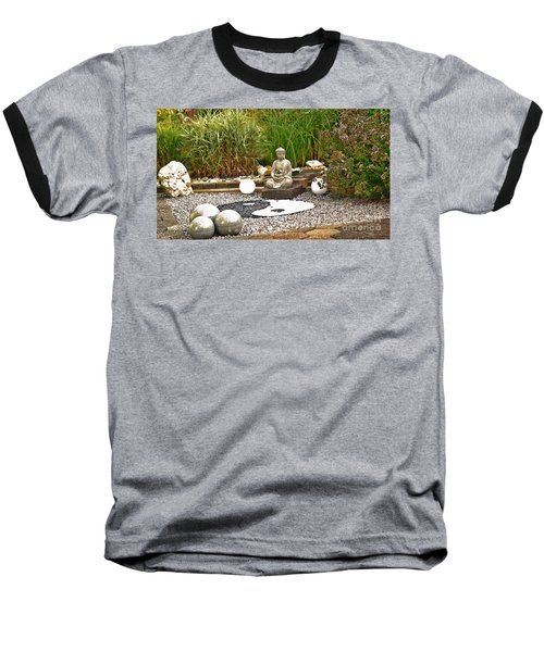 Buddha Looks At Yin And Yang Baseball T-Shirt