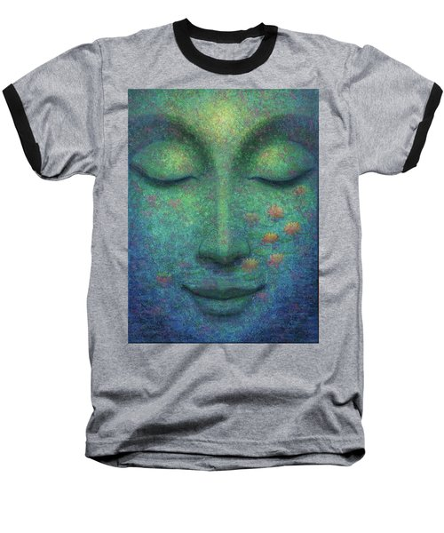 Baseball T-Shirt featuring the painting Buddha Smile by Sue Halstenberg