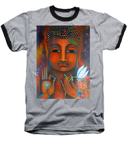 Buddha With A White Lotus In Earthy Tones Baseball T-Shirt by Prerna Poojara