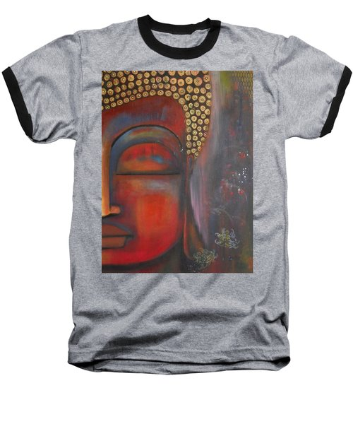 Baseball T-Shirt featuring the painting Buddha With Floating Lotuses by Prerna Poojara