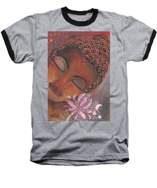 Buddha With Pink Lotus Baseball T-Shirt