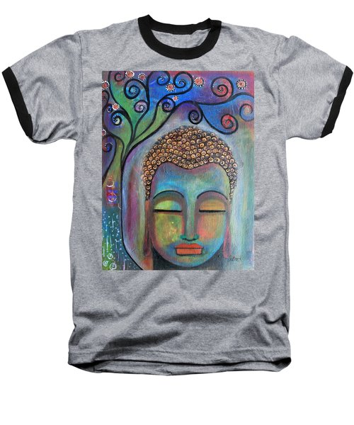 Baseball T-Shirt featuring the painting Buddha With Tree Of Life by Prerna Poojara
